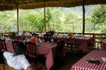 At the end of the day, they had a delicious lunch set up for us overlooking the hills surrounding Los Botados.  We had rice and spaghetti (those things go together here, don't question it) with chicken, tostones (fried, flattened plantains), vegetables, and chocolate balls for dessert.  We also got to try cacao wine (it's incredibly sweet) and cacao jelly (it tastes almost like molasses).  It was a great meal with great company and a great view.